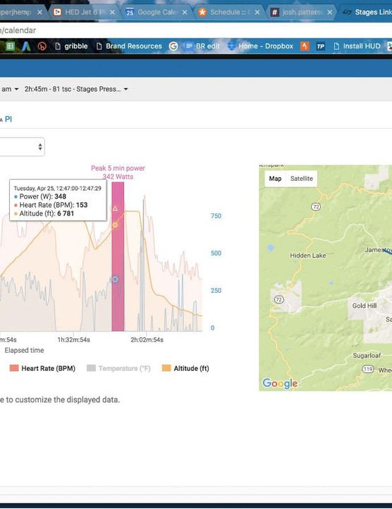 Sometimes there is a sweet spot of accessibility and detail: searching by peak power for a given duration on a ride, you can see exactly where that was on paired maps and elevation profile charts