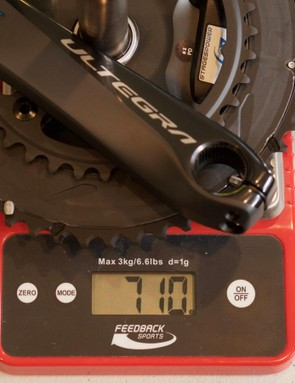 This weight is for a 172.5mm crankset. The power-measuring hardware adds 15g on the left crank and 20g on the right side