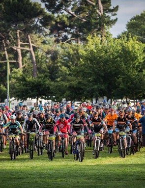 Hundreds of riders take off at the start line
