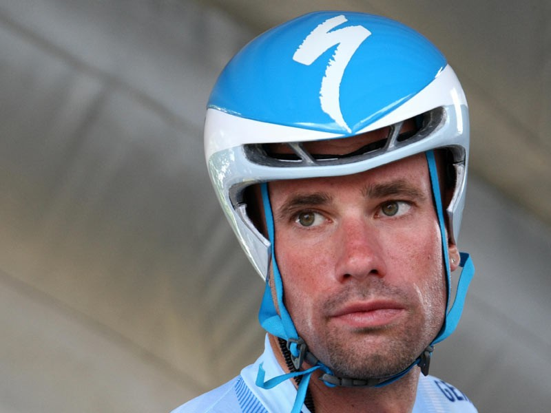 German Stefan Schumacher (Gerolsteiner/Ger) concentrates before competing, on July 26, 2008, in the 53 km individual time-trial and twentieth stage of the 2008 Tour de France