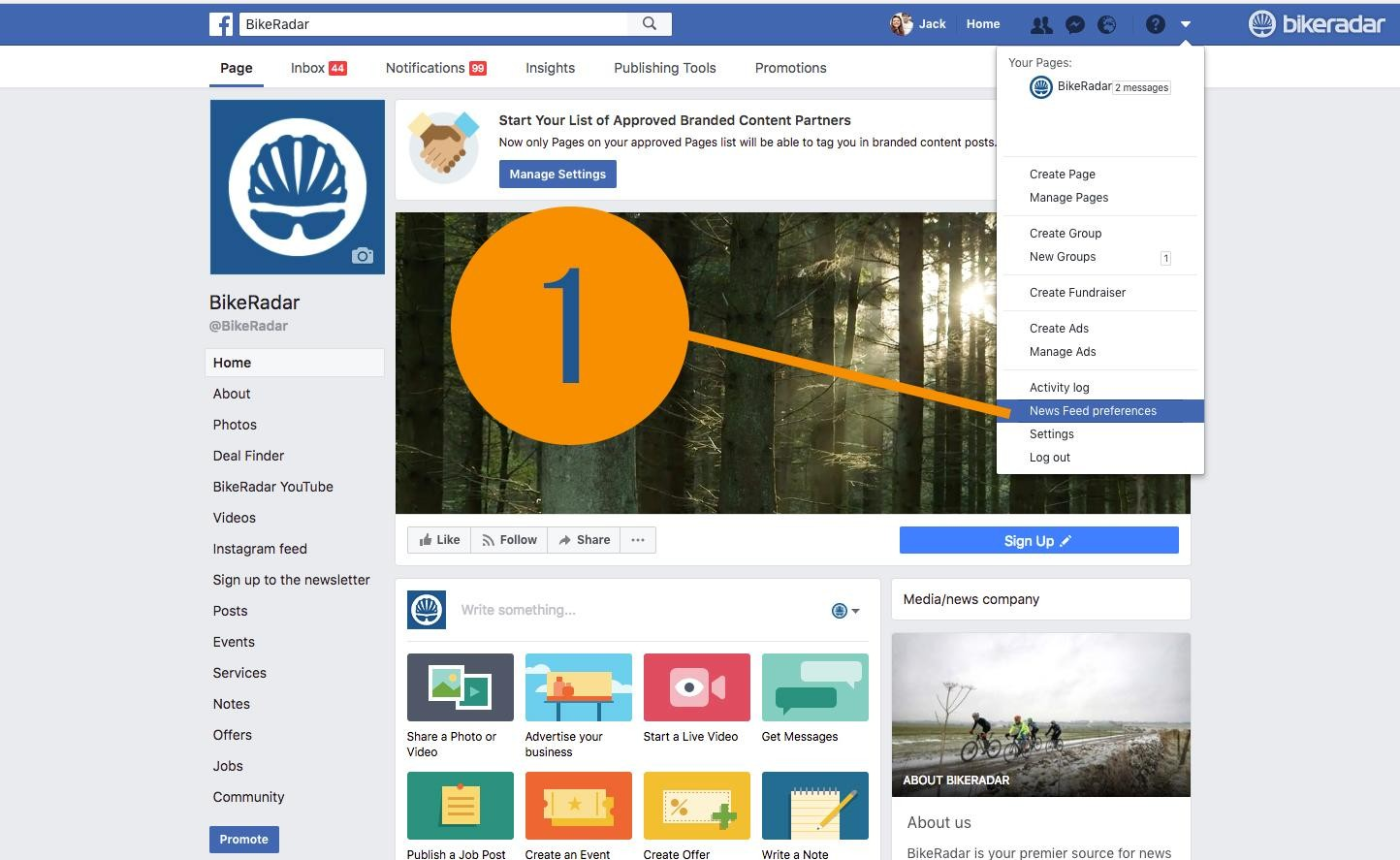 Next, (on desktop) click the tiny dropdown arrow at the top right of the page on Facebook, and select 'News Feed Preferences' (step 1)