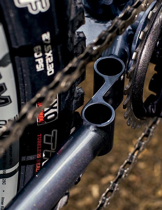 The '12 Bore' chainstay bridge is so called because you can fit two shotgun cartridges in it