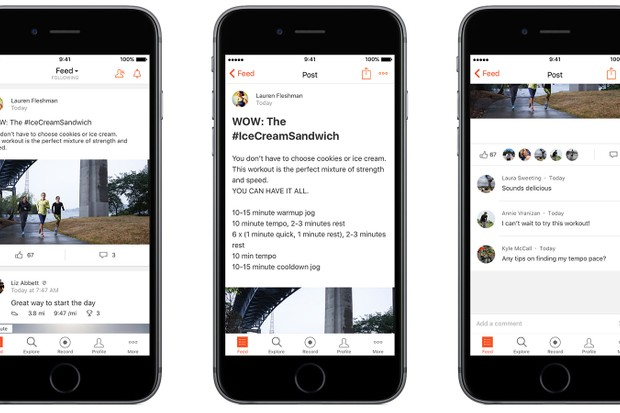 Strava athlete posts can include photos and text, and are open for comments, just like ride files
