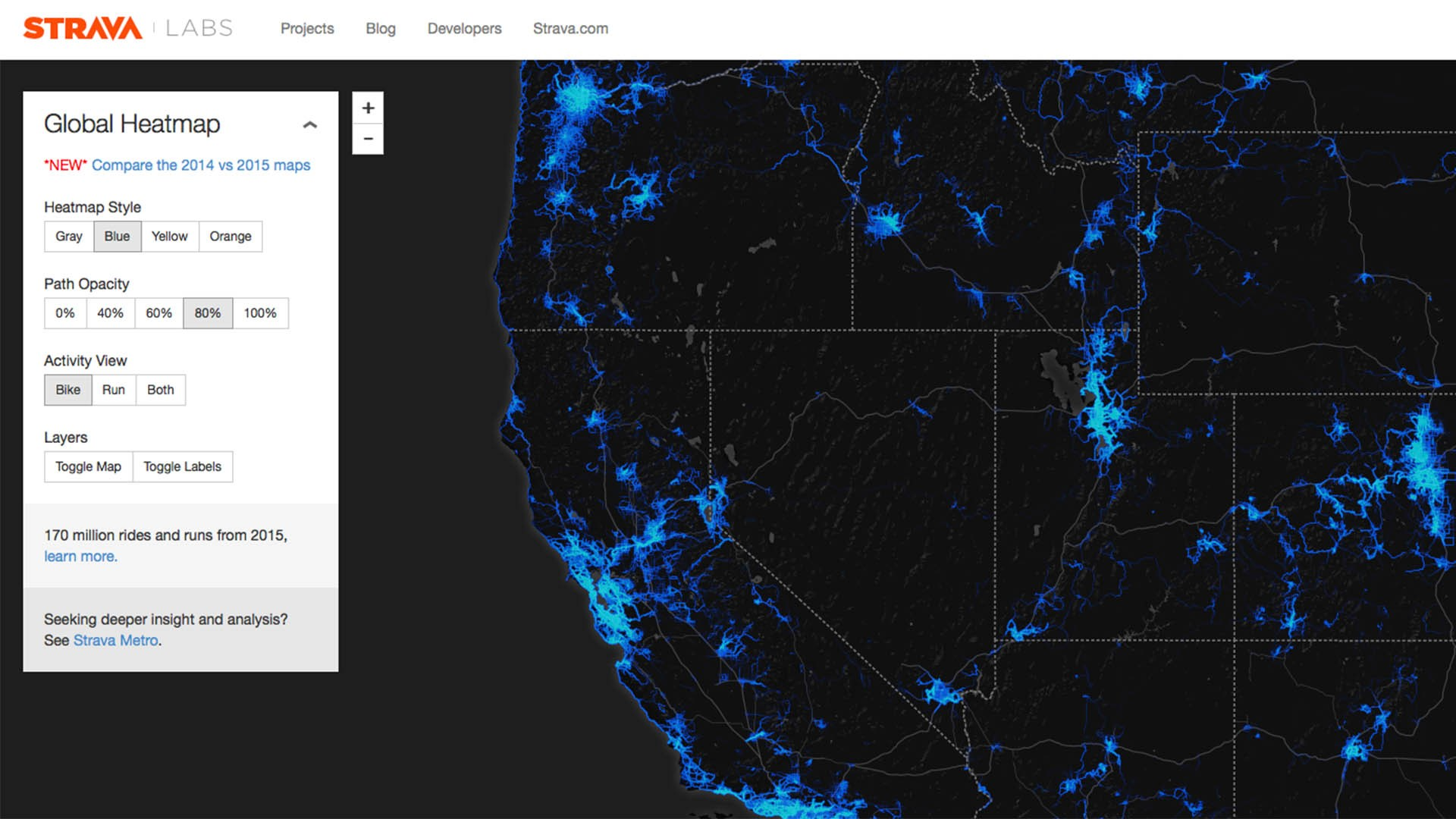 Strava Heatmap allows you see clusters of ride info, and identify areas yet to be explored