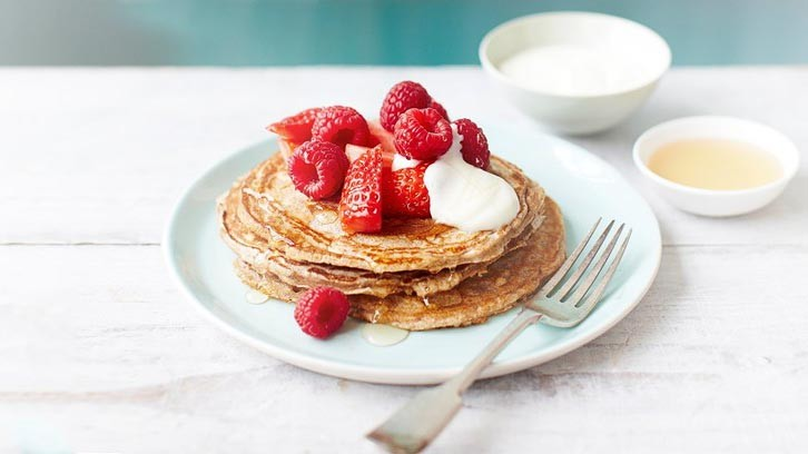 Add fruit to your buckwheat pancakes and you're working towards your five a day goal
