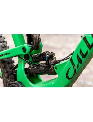 The low-slung shock passes through the seat tube and is actuated via the lower of the two links, unlike any of the other trail bikes in the Juliana range