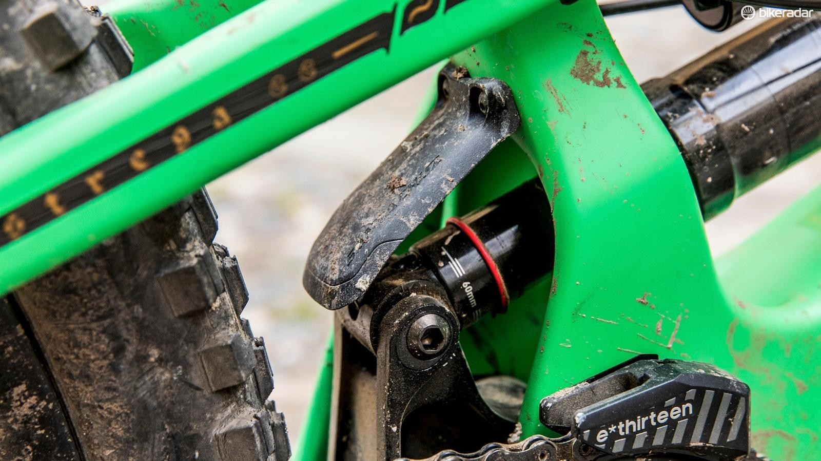 This tiny little fender helps to keep as much roost and trail debris off of the shock as possible