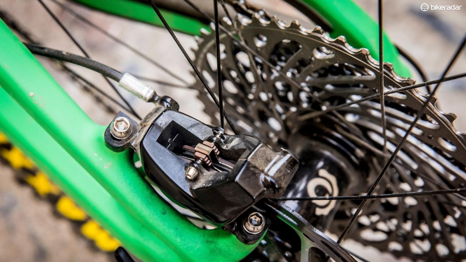 SRAM's powerful Code brakes feature throughout much of the Strega line-up and are paired with 180mm rotors