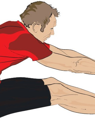 Sitting up straight, have both legs straight out in front of you and start bending forwards at the waist. Either hold behind your calves or your toes if you can reach. Again, you can use a towel if you need to. Try to keep your chest up