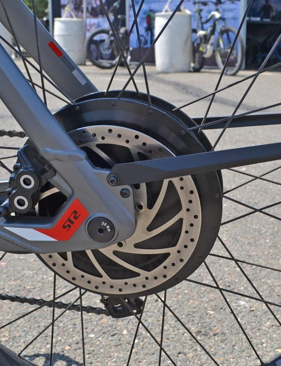 A thru-axle graces the rear as well. The massive motor hub is laced to a DT Swiss rim