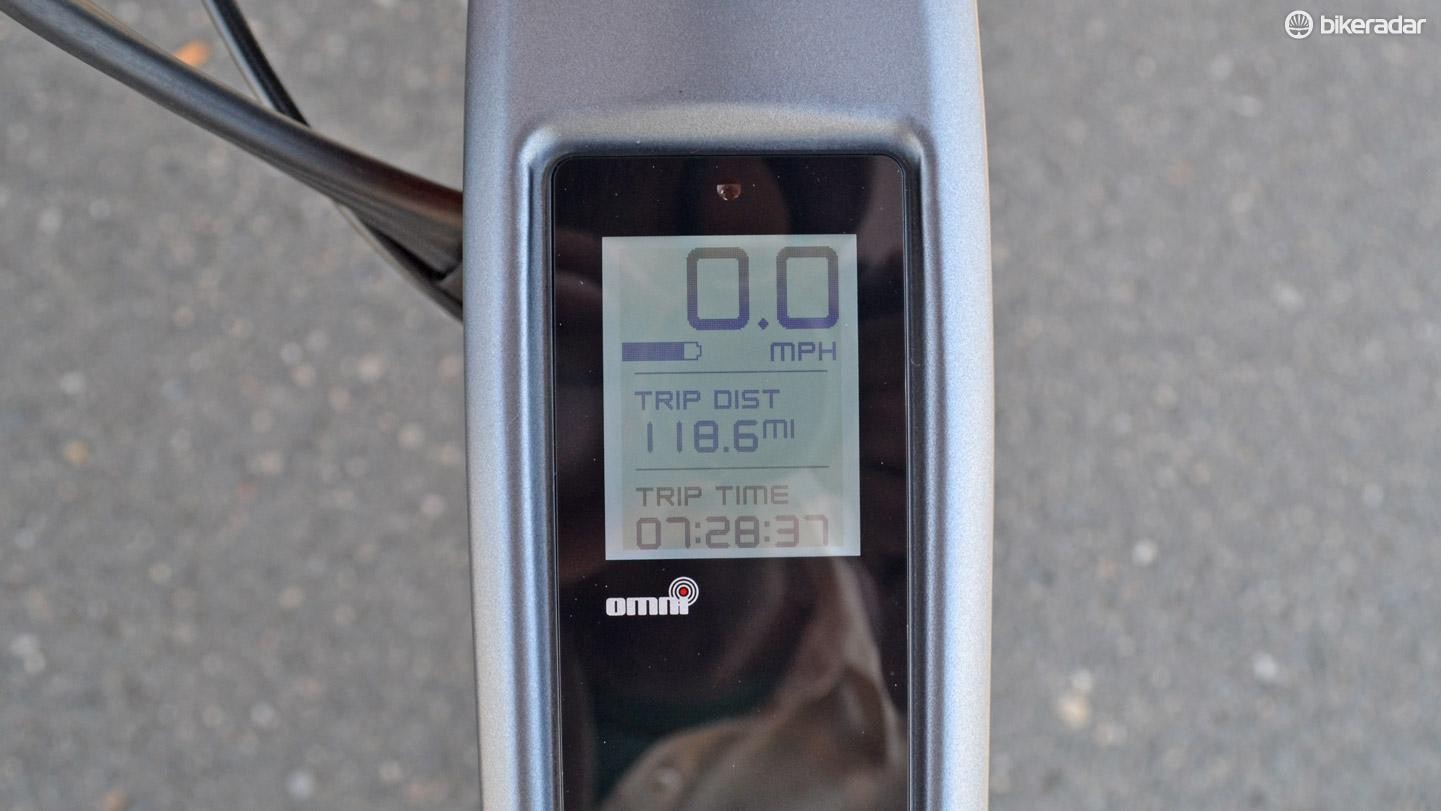 The push screen computer on the top tube has real-time metrics, gps, as well as the ability to pair with your smartphone via the stromer app