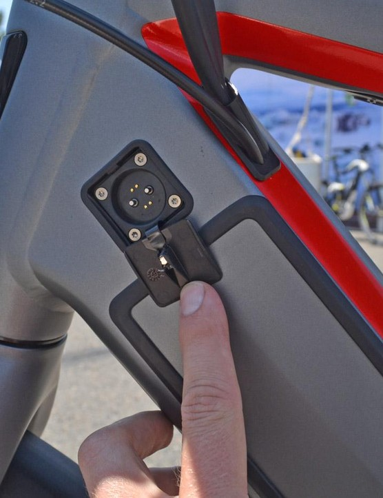 The charge port resides near the top of the down tube