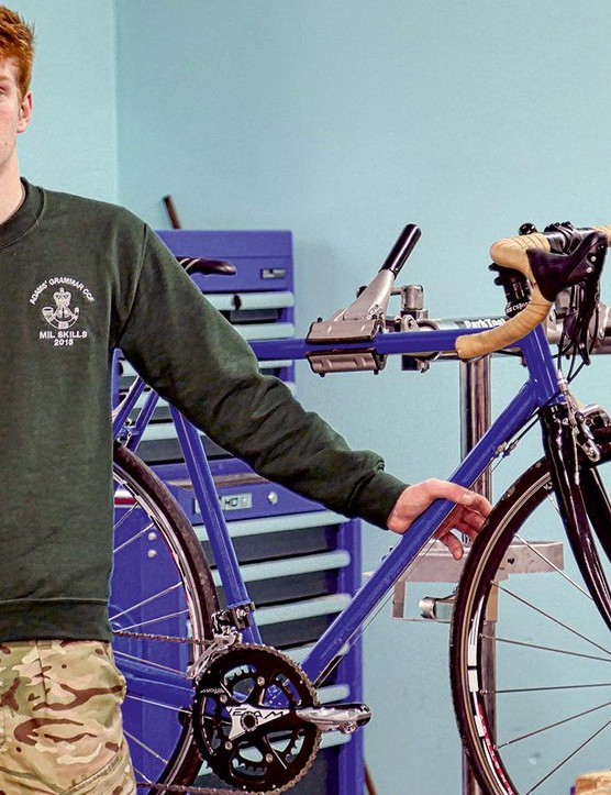 Andrew Campbell with the road bike he made himself and now rides regularly