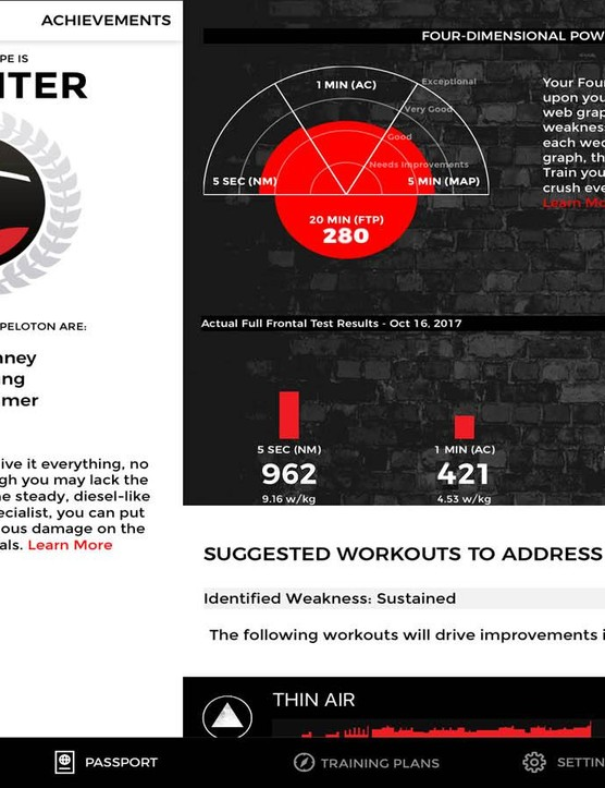 The 4DP profile gives you a few suprathreshold metrics and automatically applies them to your workouts
