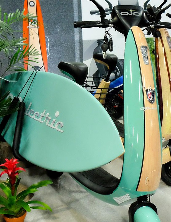 Not a bike. OJO Electric was showing off this electric scooter that's ready to catch a wave