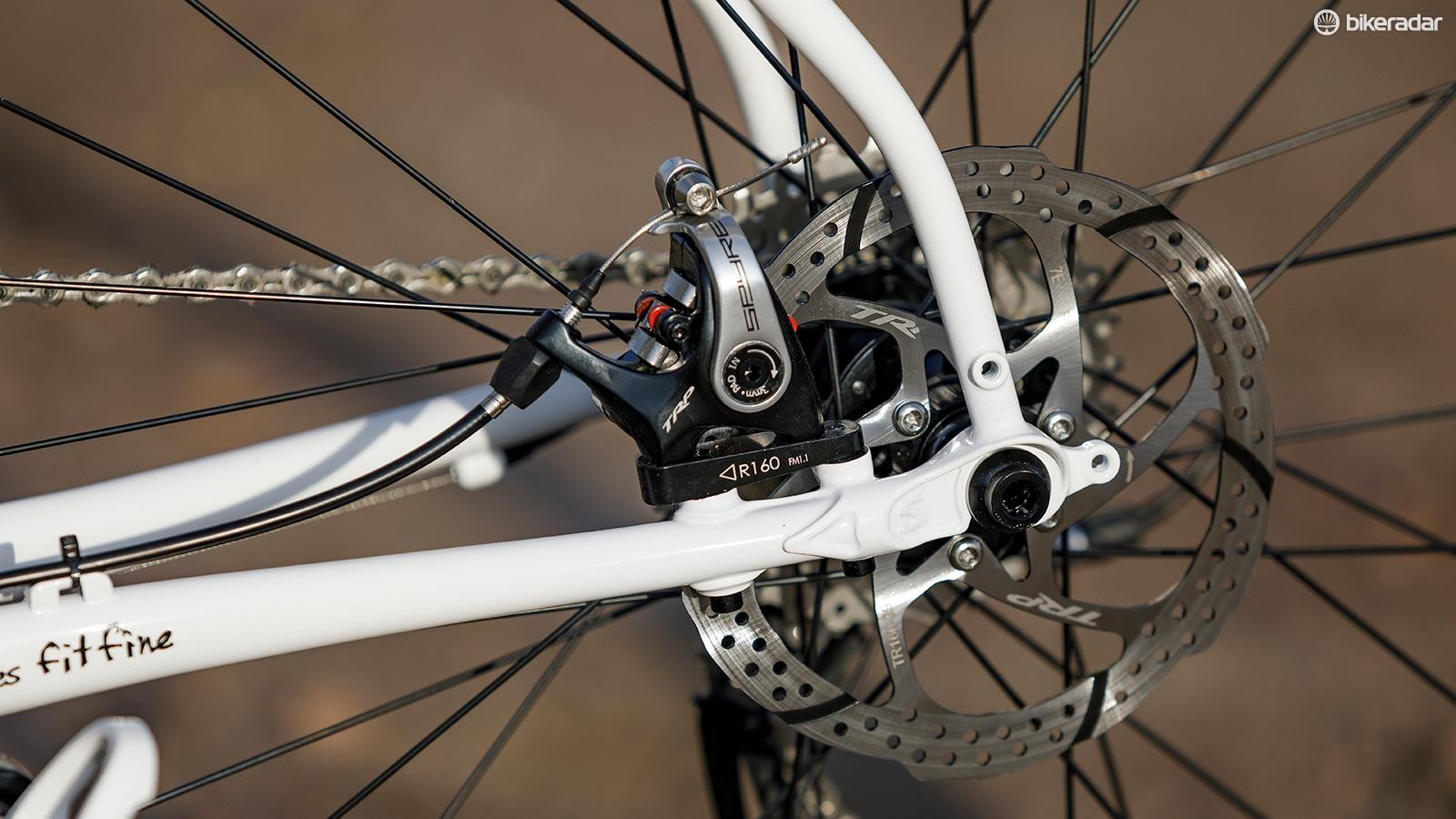 The frame is designed for direct-mount brakes