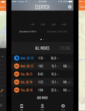 The Movescount iOS app is pretty simple and shows ride data, maps and totals across all of your 'Moves'