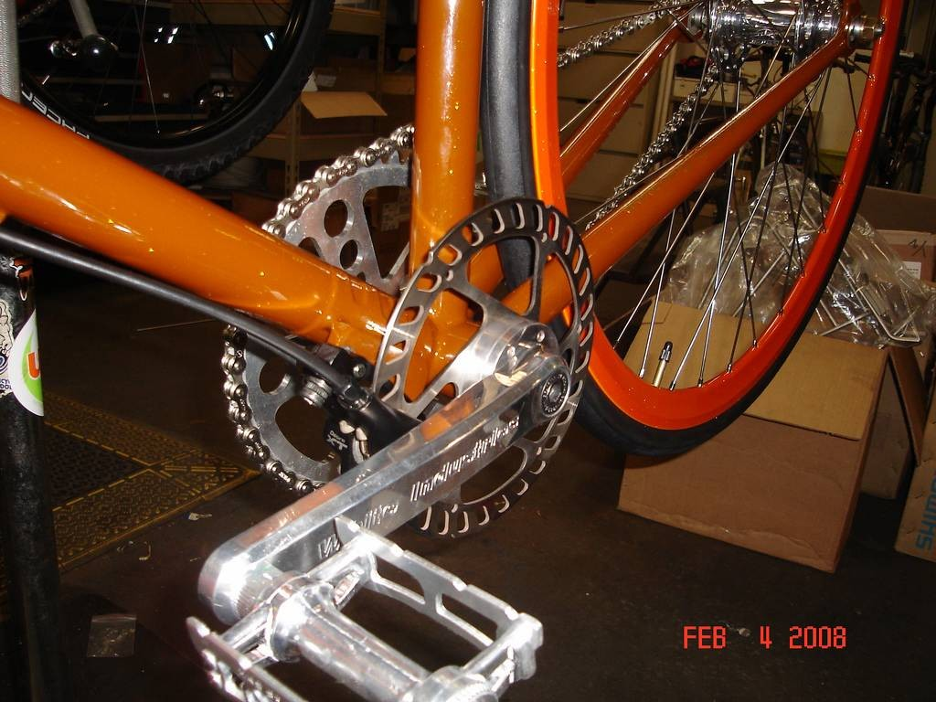 The crazy disc-braked fixie shown in Portland.
