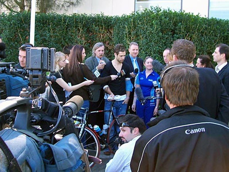 Ben Kersten gives his account of the crash to the media