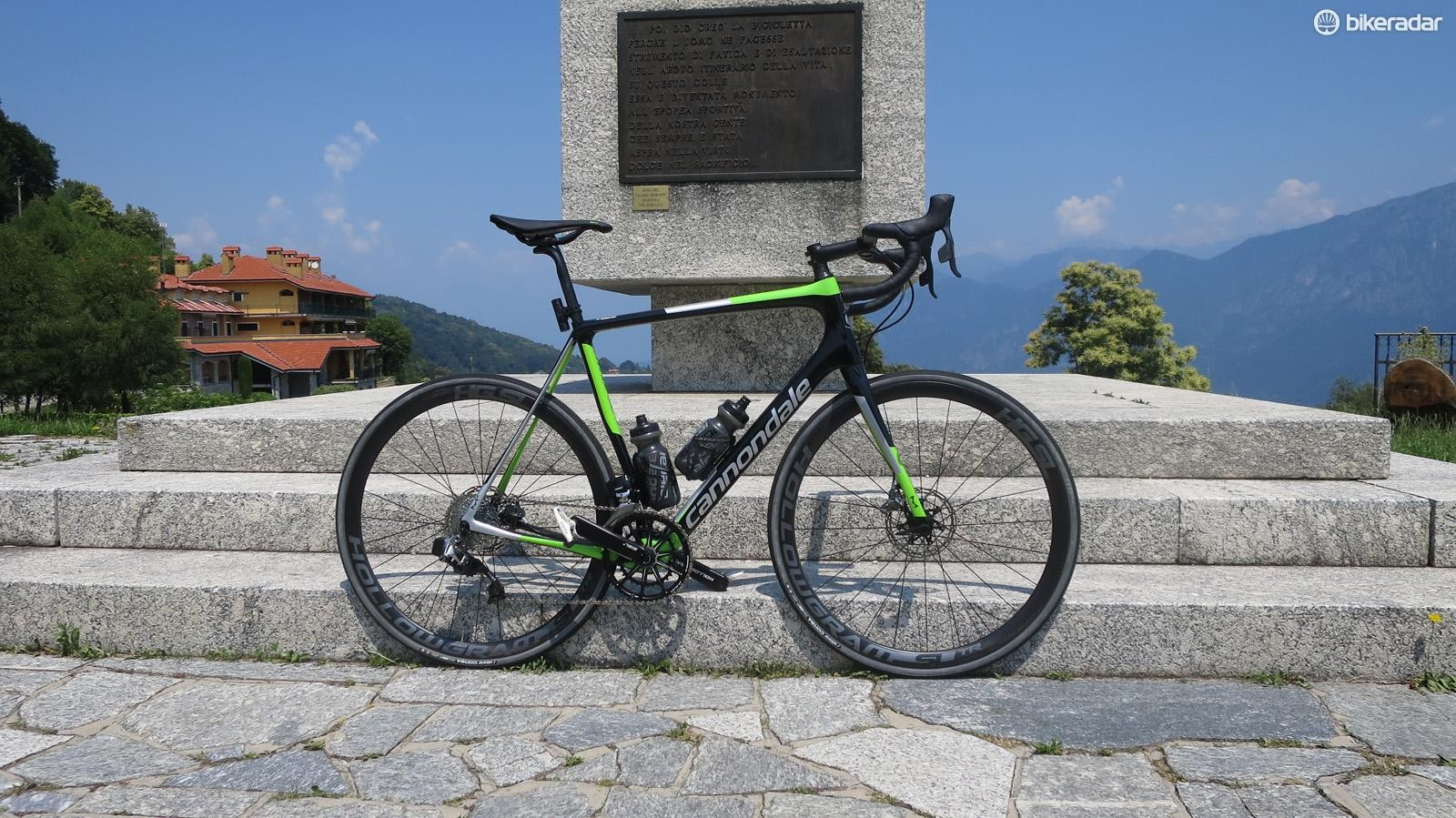 The top of the Ghisallo and the Synapse has proved itself a capable companion on the climbs