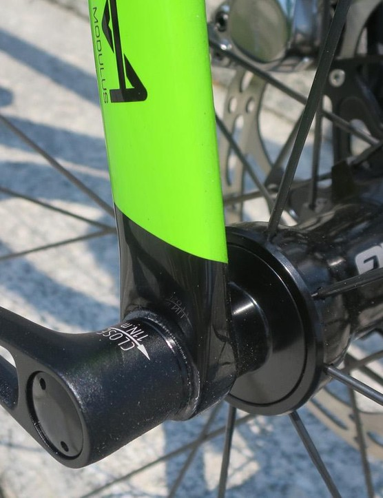 The new Synapse uses 12mm thru-axles — Maxle at the rear and Syntace up front