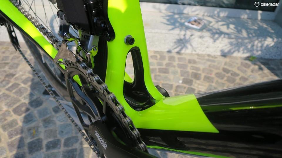 7163a91a311 The Hi-Mod Dura ace Di2 flagship bike looks great in fluro green and black