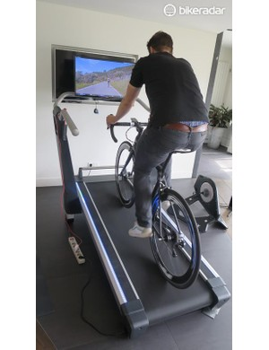 The light tracks either side of the treadmill feed you information on your efforts as you climb