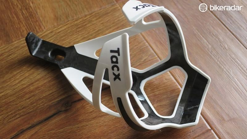 Tacx's bottle cage combines polyamide and carbon fibre to create a light and stiff structure