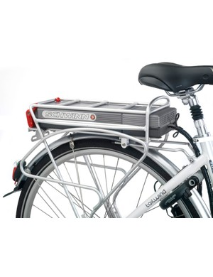 The Plug N' Drive removable battery pack is built into the rack systems, allowing riders to quickly detach the battery for recharging