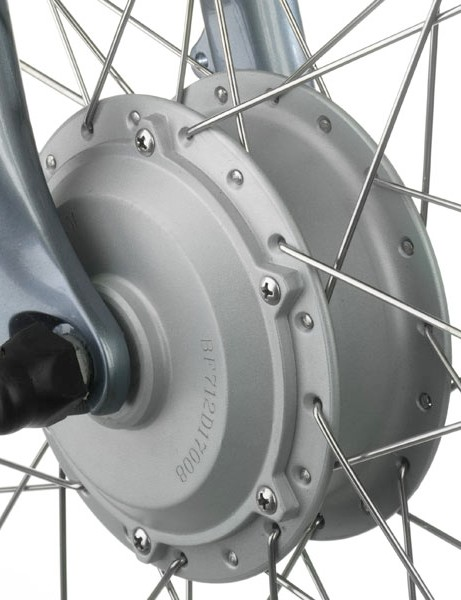 The electric motor in the Tailwind is housed in the hub of the front wheel,