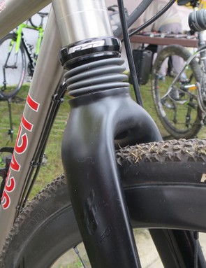 Alongside the Argon 18 was one of KS's designers own bike, a custom Seven titanium gravel machine equipped with an EVA suspension fork