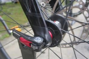 The EVA fork is thru-axle with a quarter-turn open, quarter-turn lock design