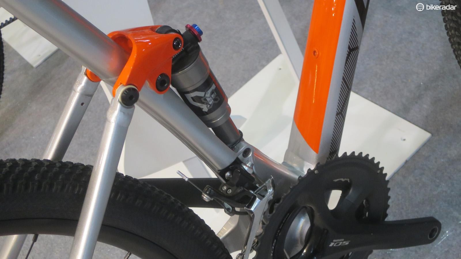 The short-travel linkage rear end is controlled with an X-Fusion air shock complete with lock out