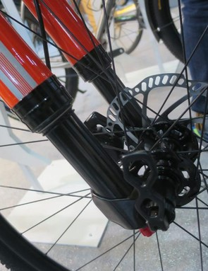 The Apro's upside-down front suspension fork with internals by X-Fusion