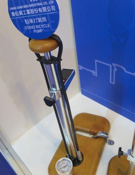 We like the look of this cool bike stand-cum-track pump combo
