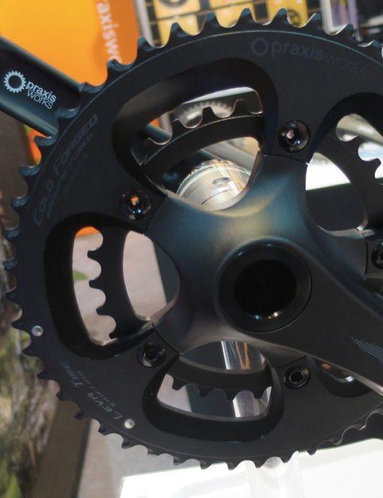 Praxis has a new lower-priced road chainset called the Alba, featuring 2D forged arms