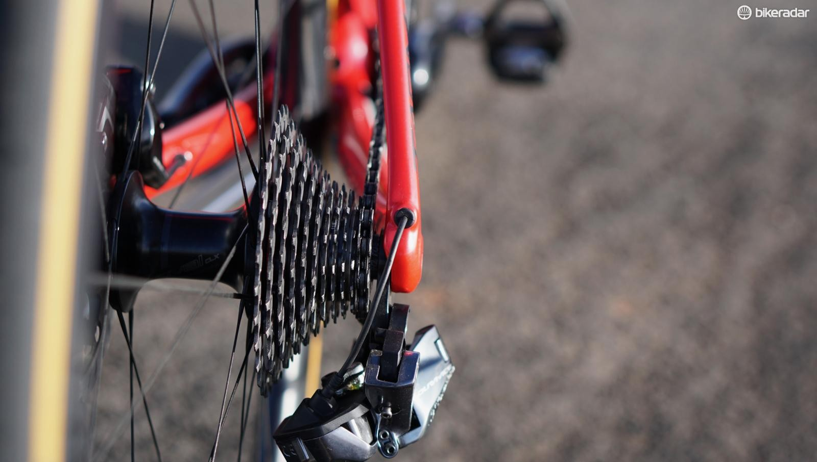 The new Dura-Ace 9170 derailleur tucks well underneath the cassette, even when in the 11t