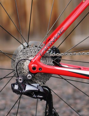 With the 140mm rotor on the other side, the larger cassette doesn't look out of place