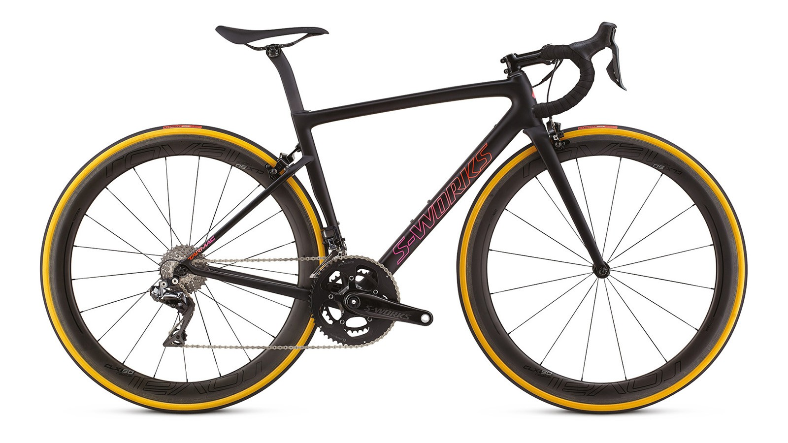 Although the women's frameset is exactly the same as the standard Tarmac, Specialized does offer smaller sizes and two women's specific builds. This is the S-Works model with Di2