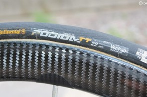 25mm tubulars may be the rage on road bikes, but 22mm Contis are still the hot ticket for time trials