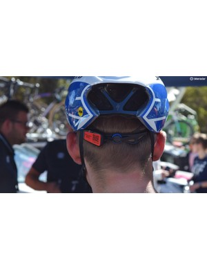 All Deceuninck - Quick-Step riders were using Specialized helmets fitted with its ANGi crash detector