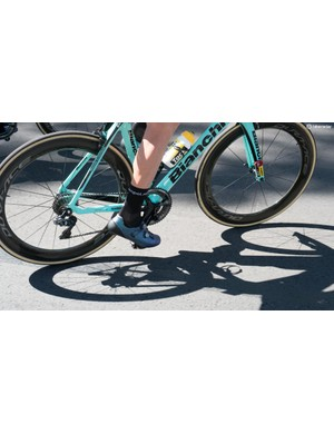 Team Jumbo-Visma was seen riding Shimano S-Phyre RC09 shoes in an unreleased colour