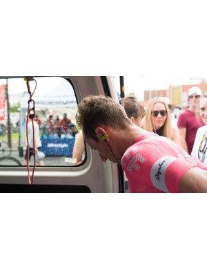 EF Education First opts for a simple strip of tape to keep radios in place
