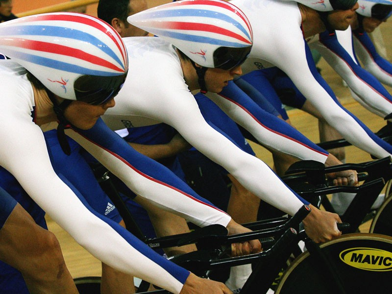 Great Britain's pursuit track cycling team training at the Olympics