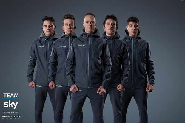 Team Sky riders show off their new off bike wear
