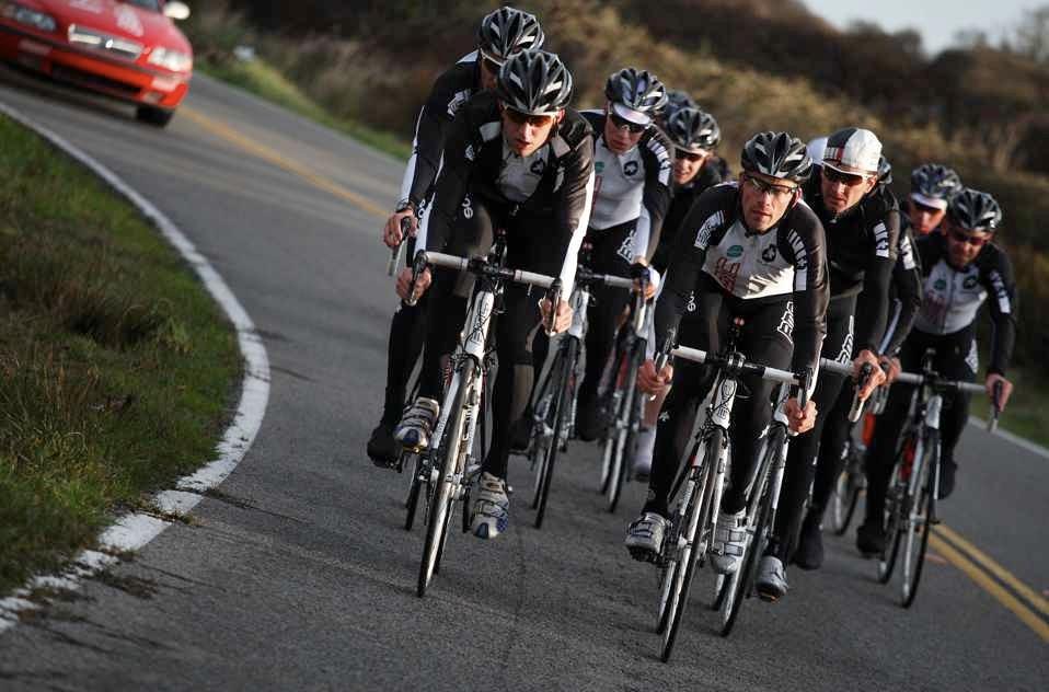 The BMC Racing Team, training in Palo Alto, CA area recently.