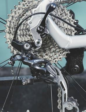 A Shimano Deore 1x drivetrain