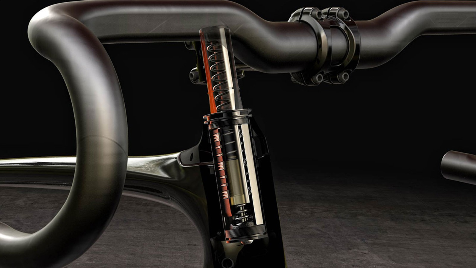 The stock Specialized Future Shock uses a spring housed in the steerer tube to provide 20mm of suspension