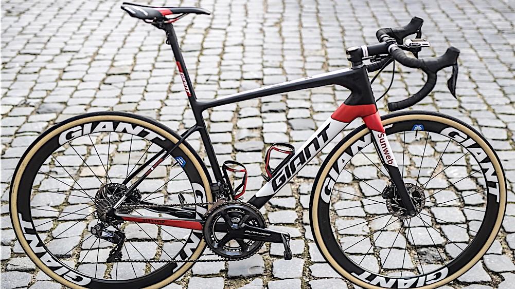 The Giant Defy Advanced SL of Sunweb's Paris-Roubaix hope Mike Teunissen