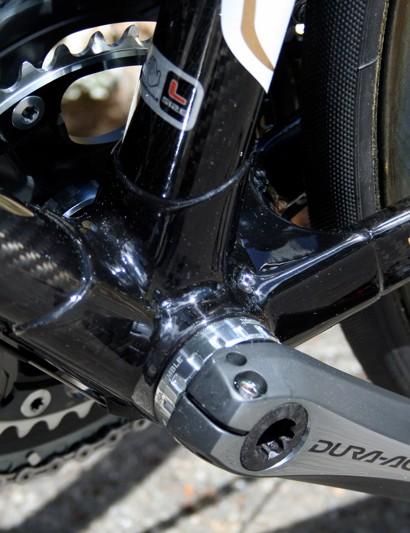 Despite looking slender the Look 595 has a huge lug for the bottom bracket joint - the highest stress point on any bike, let alone this one.